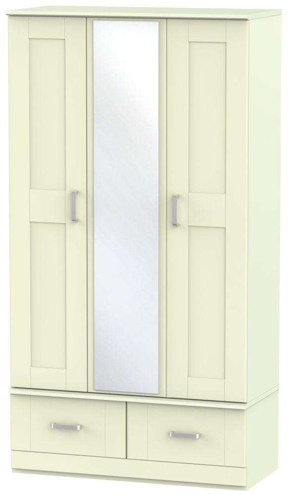 Cardigan Bay Cream Wardrobe - Triple Box with Mirror