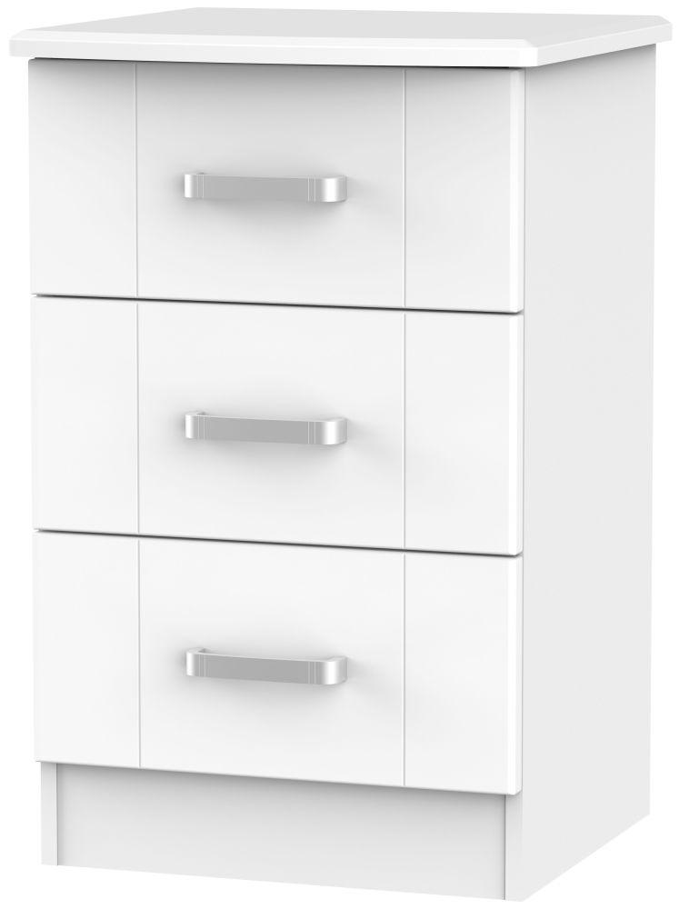 Cardigan Bay White Bedside Cabinet - 3 Drawer Locker