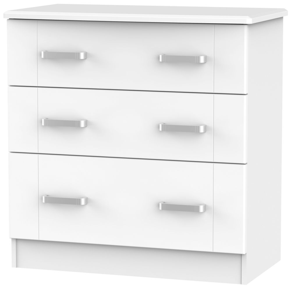 Cardigan Bay White Chest of Drawer - 3 Drawer Deep