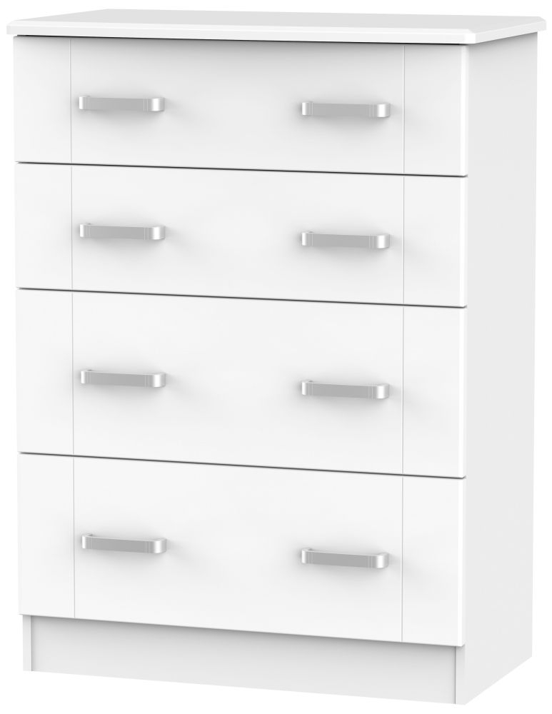 Cardigan Bay White Chest of Drawer - 4 Drawer Deep