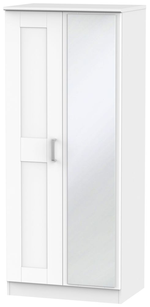 Cardigan Bay White Wardrobe - 2 ft 6in with Mirror