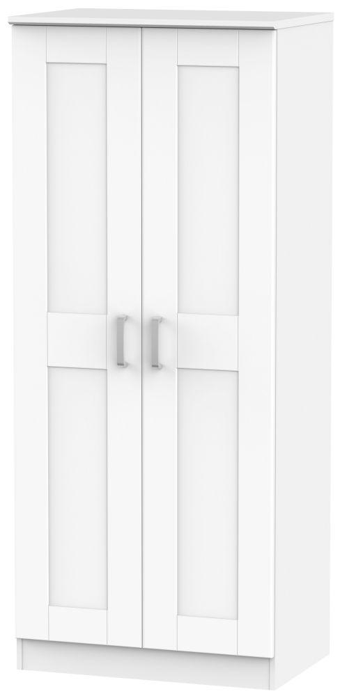 Cardigan Bay White Wardrobe - Double Plain with Double Hanging