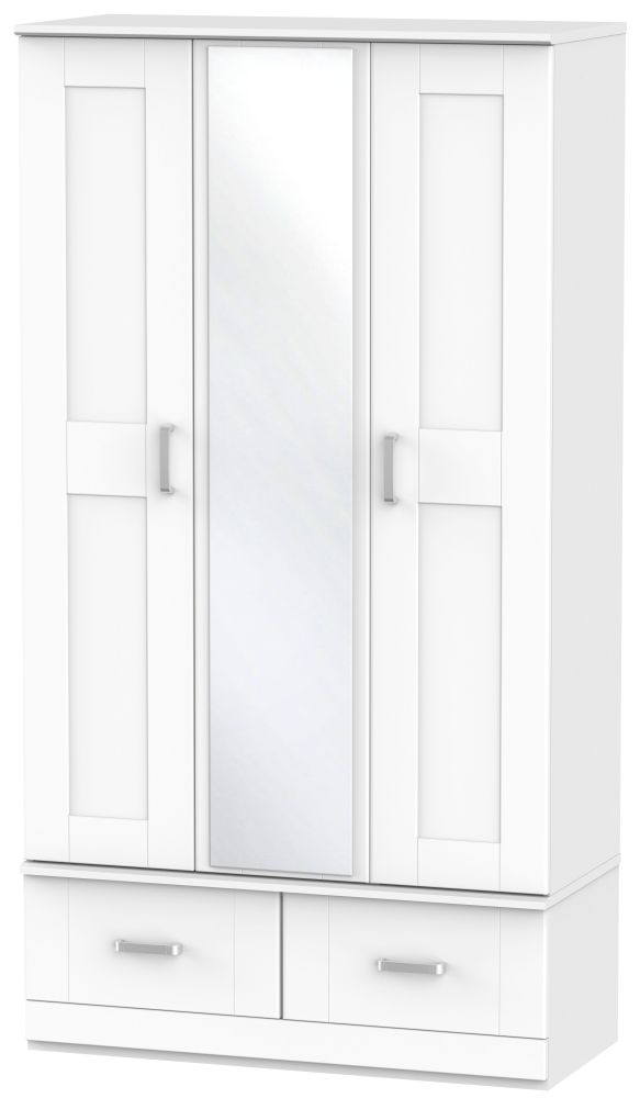Cardigan Bay White Wardrobe - Triple Box with Mirror