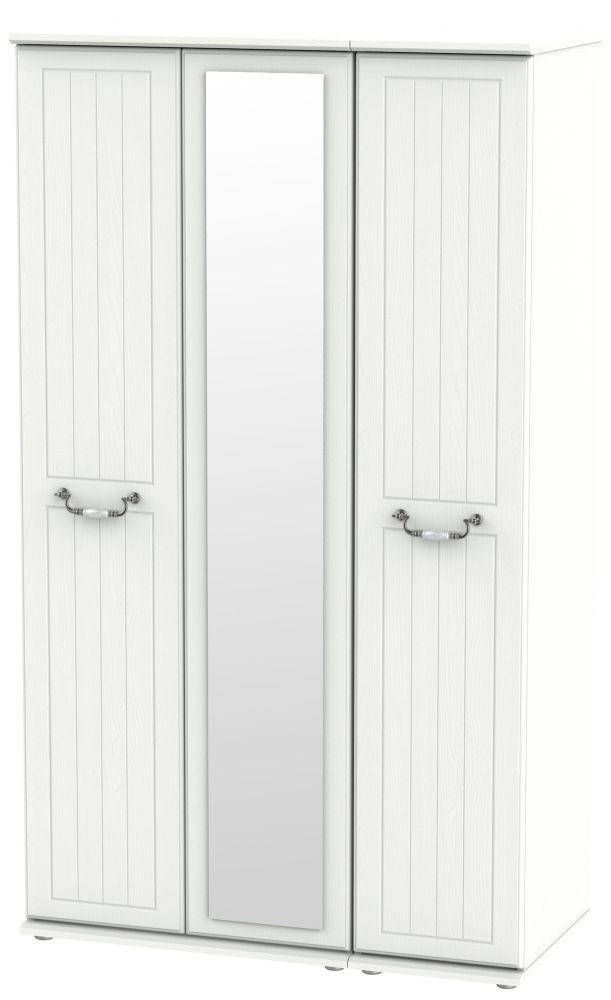 Coniston Cream 3 Door Tall Mirror Wardrobe