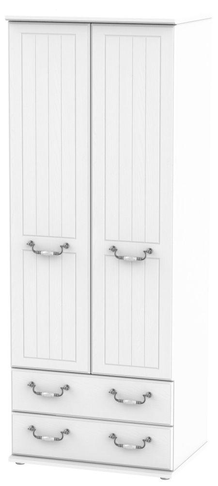 Coniston White 2 Door 2 Drawer Tall Wardrobe