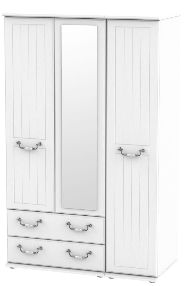 Coniston White 3 Door 2 Left Drawer Combi Wardrobe
