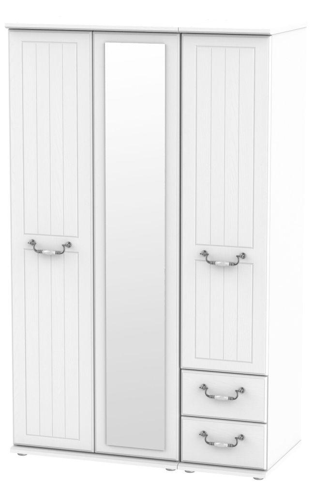 Coniston White 3 Door 2 Right Drawer Combi Wardrobe