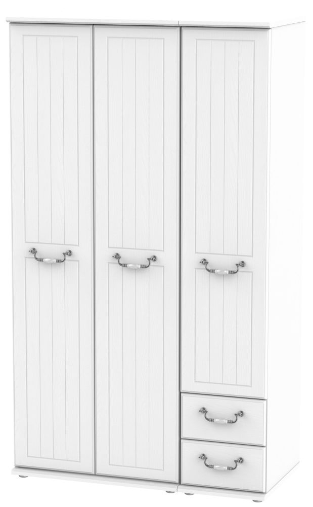 Coniston White 3 Door 2 Right Drawer Tall Wardrobe