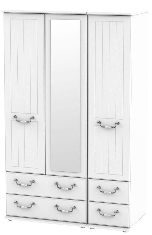 Coniston White 3 Door 4 Drawer Combi Wardrobe