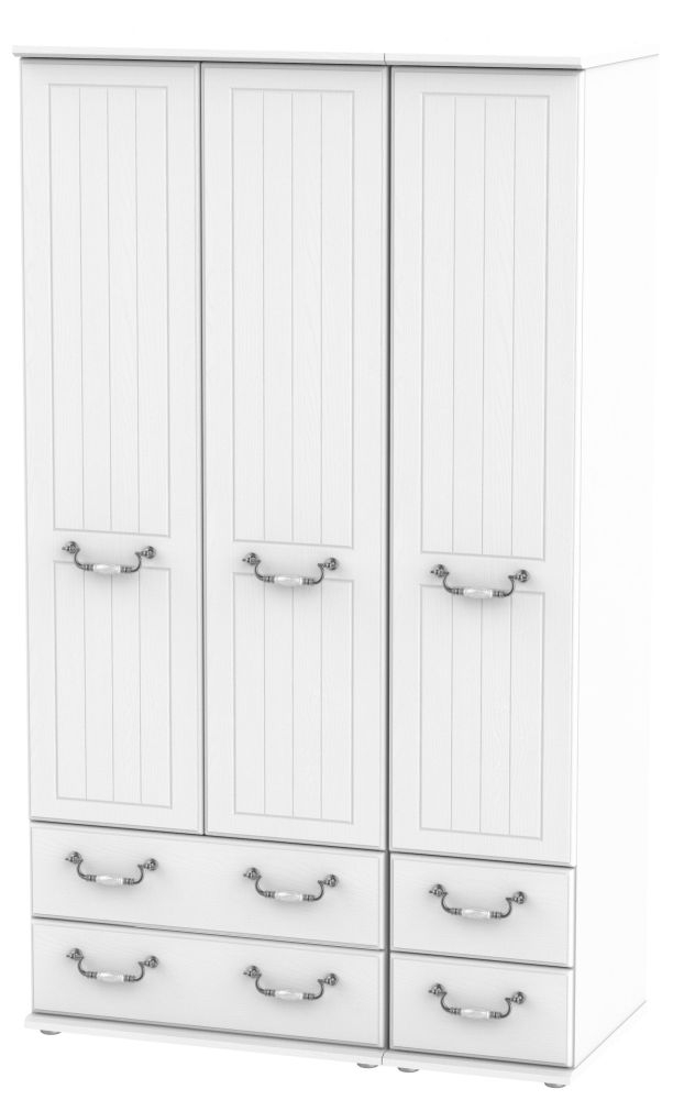 Coniston White 3 Door 4 Drawer Tall Wardrobe