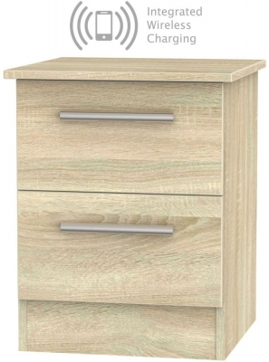 Contrast Bardolino 2 Drawer Bedside Cabinet with Integrated Wireless Charging