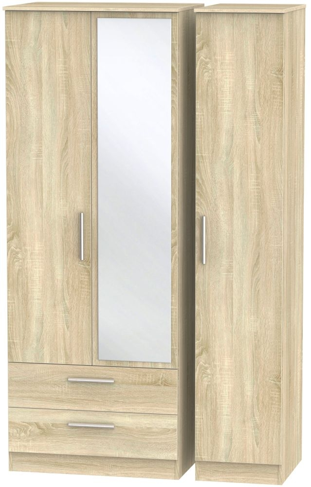 Contrast Bardolino 3 Door 2 Left Drawer Tall Mirror Triple Wardrobe