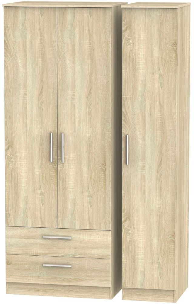 Contrast Bardolino 3 Door 2 Drawer Tall Triple Wardrobe