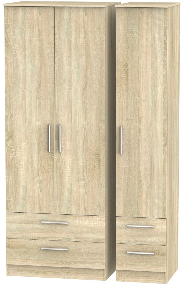 Contrast Bardolino 3 Door 4 Drawer Tall Triple Wardrobe
