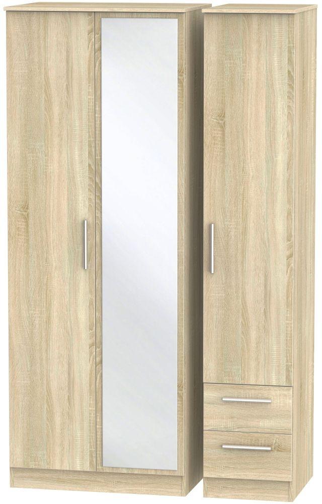 Contrast Bardolino 3 Door 2 Right Drawer Tall Mirror Triple Wardrobe