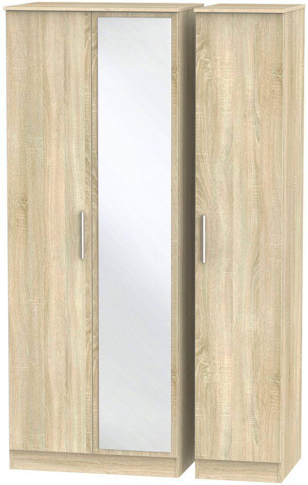 Contrast Bardolino 3 Door Tall Mirror Triple Wardrobe