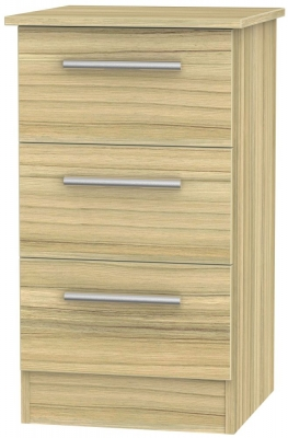 Contrast Cocobolo 3 Drawer Bedside Cabinet