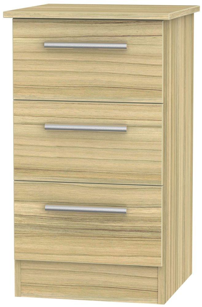 Contrast Cocobolo 3 Drawer Locker Bedside Cabinet