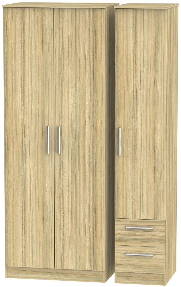 Contrast Cocobolo 3 Door 2 Drawer Tall Plain Triple Wardrobe