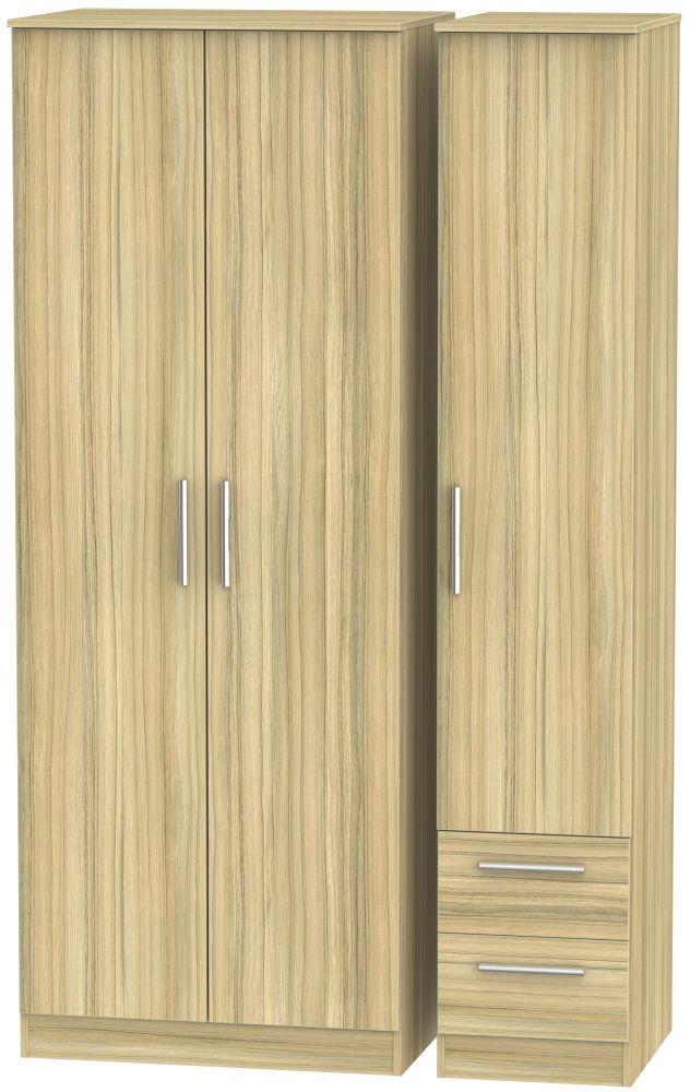 Contrast Cocobolo 3 Door 2 Drawer Tall Plain Triple Wardrobe