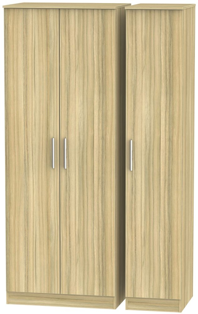 Contrast Cocobolo 3 Door Tall Plain Triple Wardrobe
