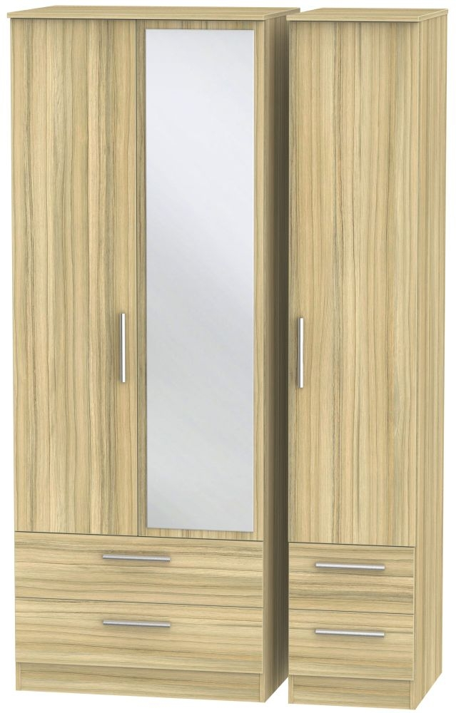 Contrast Cocobolo 3 Door 4 Drawer Tall Mirror Triple Wardrobe