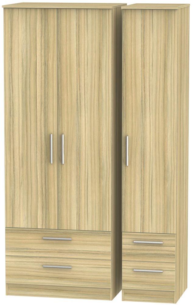Contrast Cocobolo 3 Door 4 Drawer Tall Triple Wardrobe