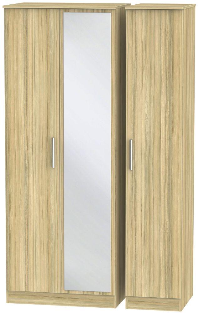 Contrast Cocobolo 3 Door Tall Mirror Triple Wardrobe
