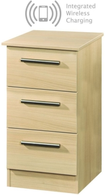 Contrast Elm 3 Drawer Bedside Cabinet with Integrated Wireless Charging