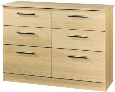 Contrast Elm 6 Drawer Midi Chest