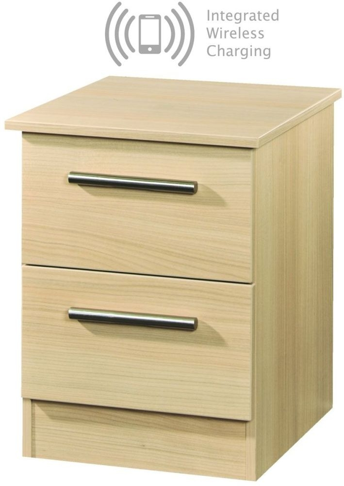 Contrast Elm 2 Drawer Bedside Cabinet with Integrated Wireless Charging