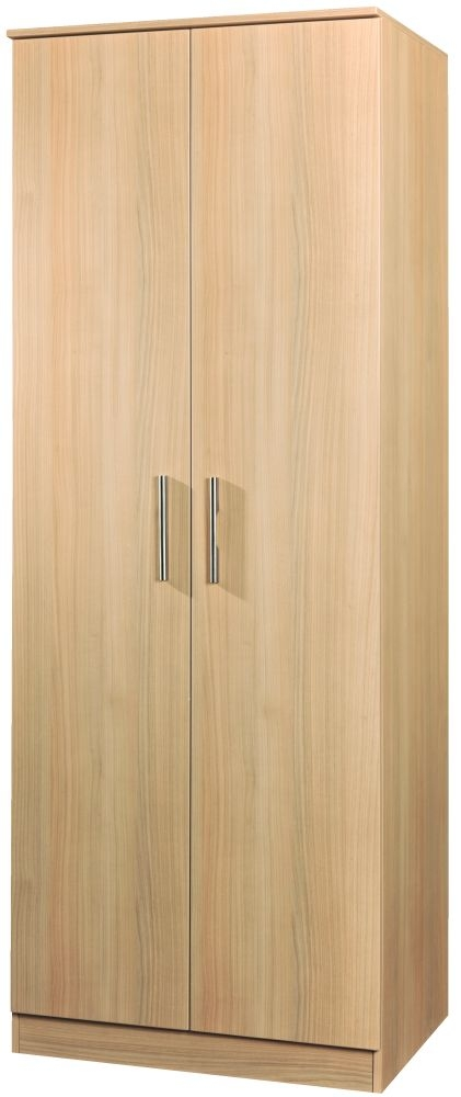 Contrast Elm 2 Door Plain Double Wardrobe