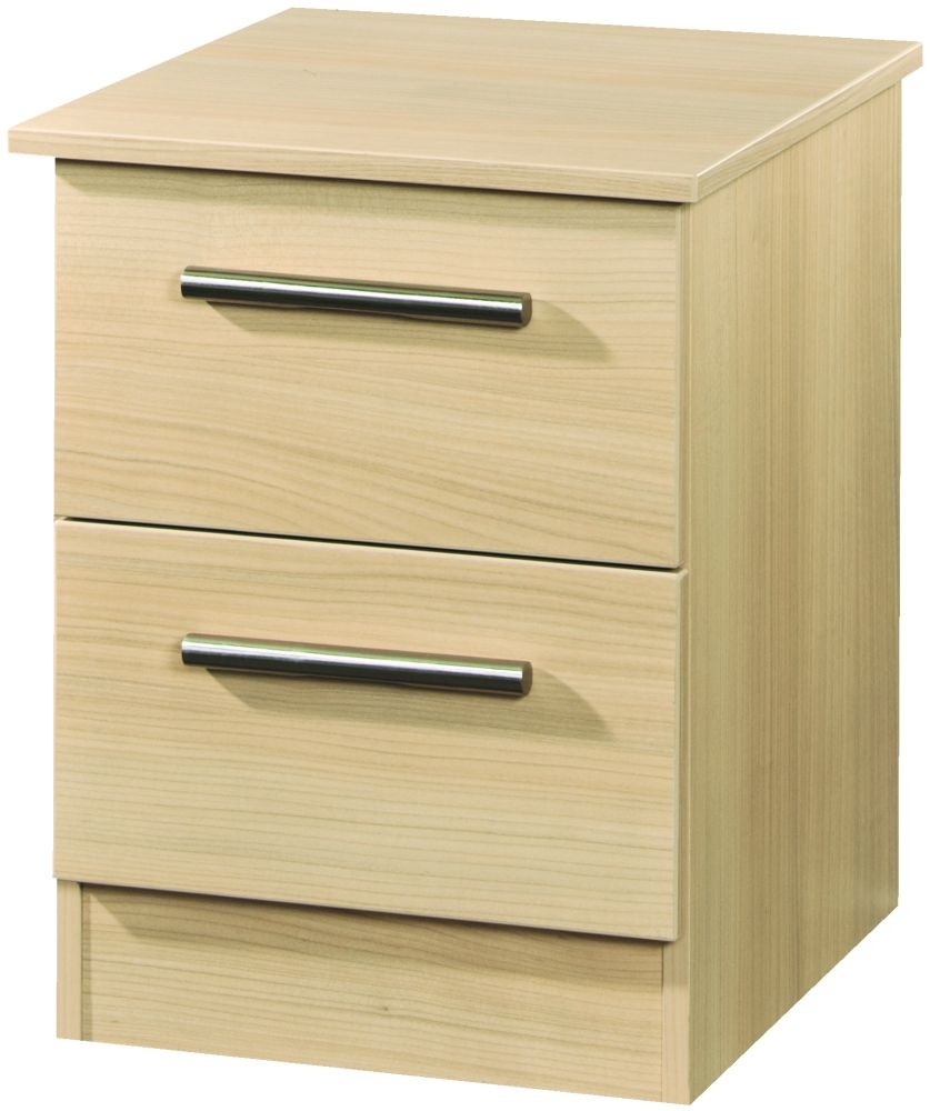Contrast Elm 2 Drawer Locker Bedside Cabinet