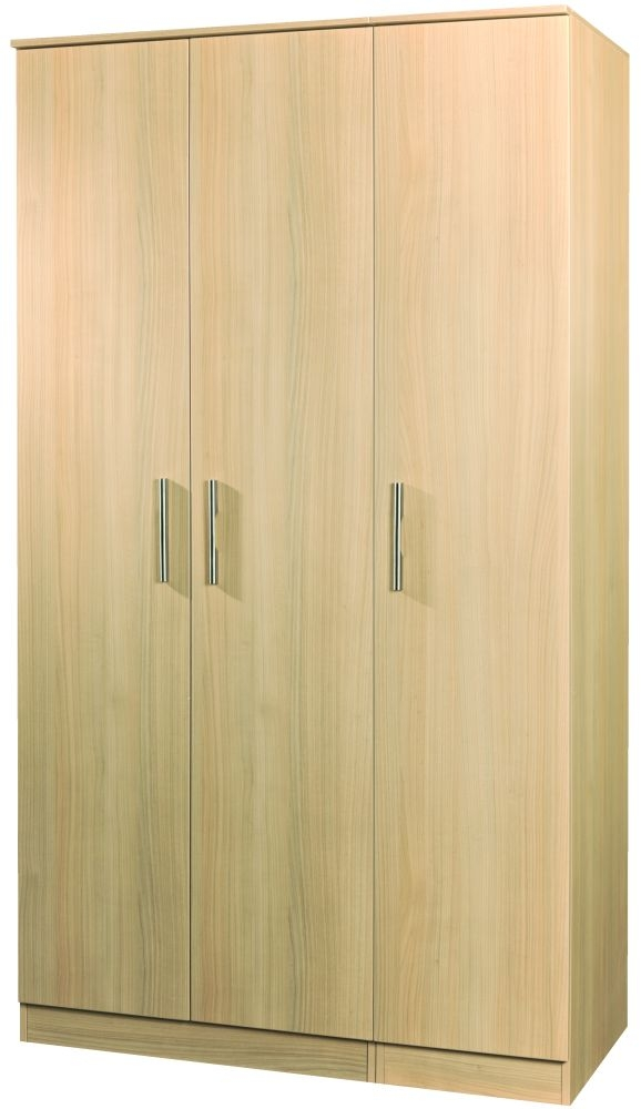 Contrast Elm 3 Door Plain Tall Triple Wardrobe