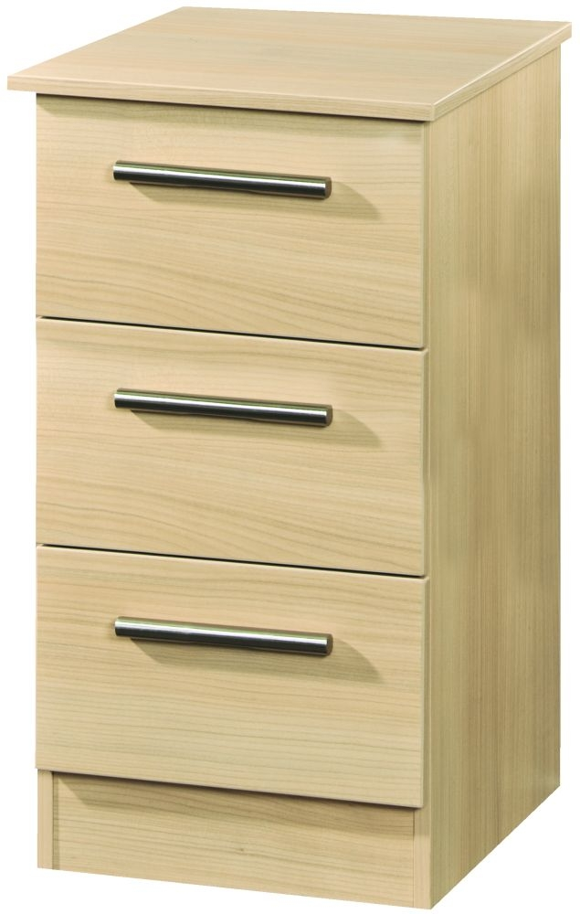 Contrast Elm 3 Drawer Locker Bedside Cabinet