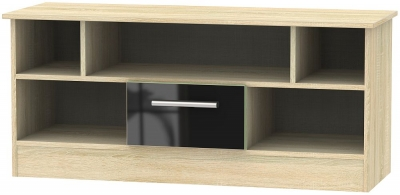 Contrast 1 Drawer Open TV Unit - High Gloss Black and Bardolino