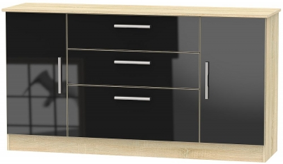 Contrast 2 Door 3 Drawer Wide Sideboard - High Gloss Black and Bardolino