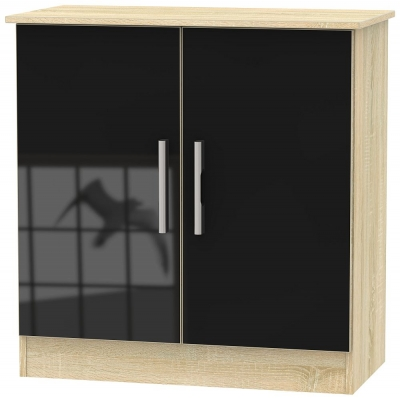 Contrast 2 Door Hall Unit - High Gloss Black and Bardolino