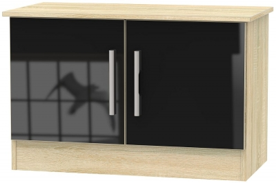 Contrast 2 Door Low Unit - High Gloss Black and Bardolino