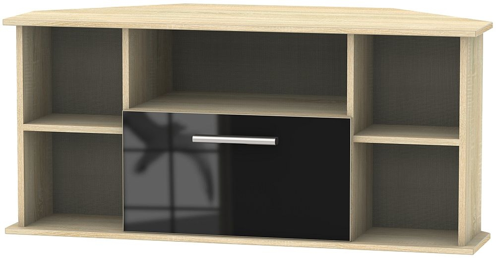 Contrast 1 Drawer Corner TV Unit - High Gloss Black and Bardolino