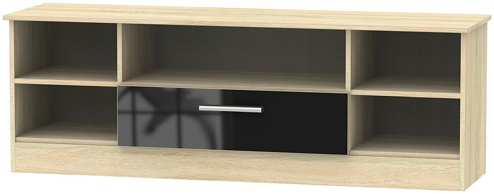 Contrast 1 Drawer Wide Open TV Unit - High Gloss Black and Bardolino