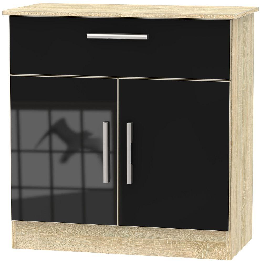 Contrast 2 Door 1 Drawer Narrow Sideboard - High Gloss Black and Bardolino