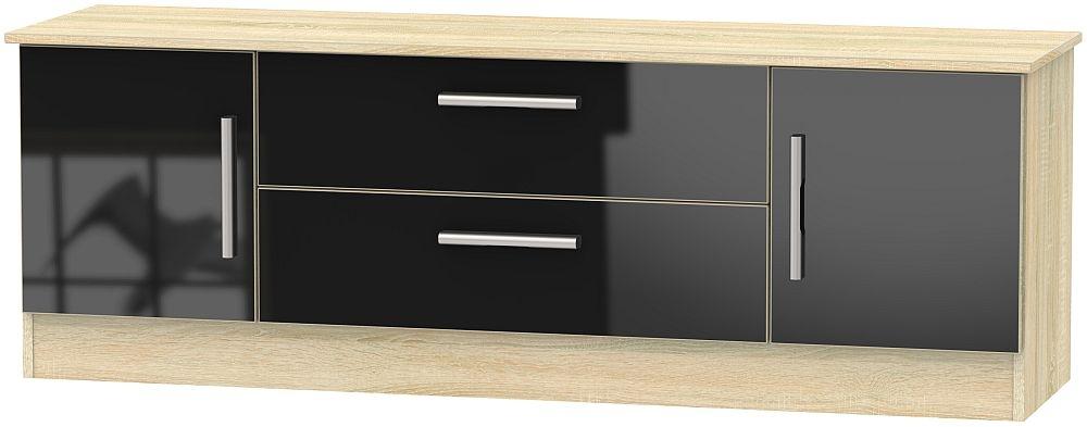 Contrast 2 Door 2 Drawer Wide TV Unit - High Gloss Black and Bardolino