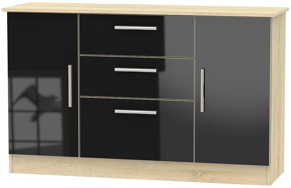 Contrast 2 Door 3 Drawer Sideboard - High Gloss Black and Bardolino