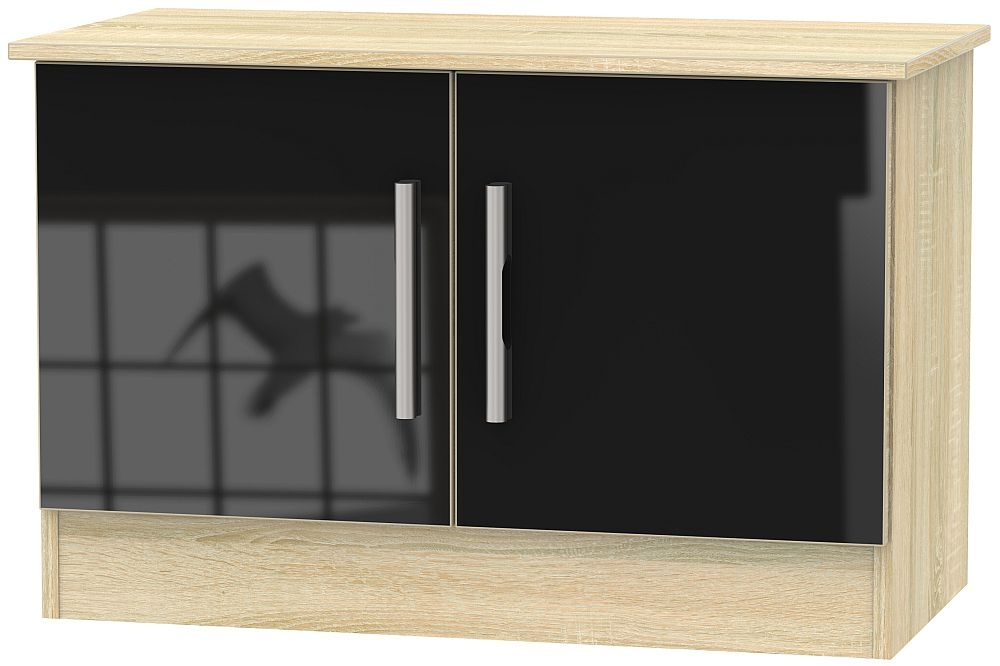 Product photograph showing Contrast 2 Door Low Unit - High Gloss Black And Bardolino