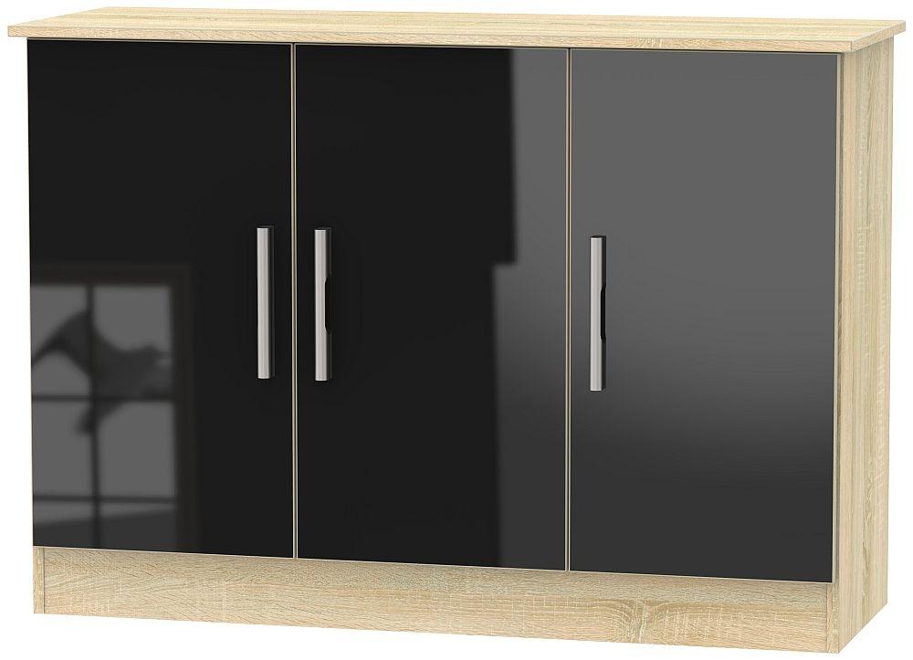 Contrast 3 Door Narrow Sideboard - High Gloss Black and Bardolino