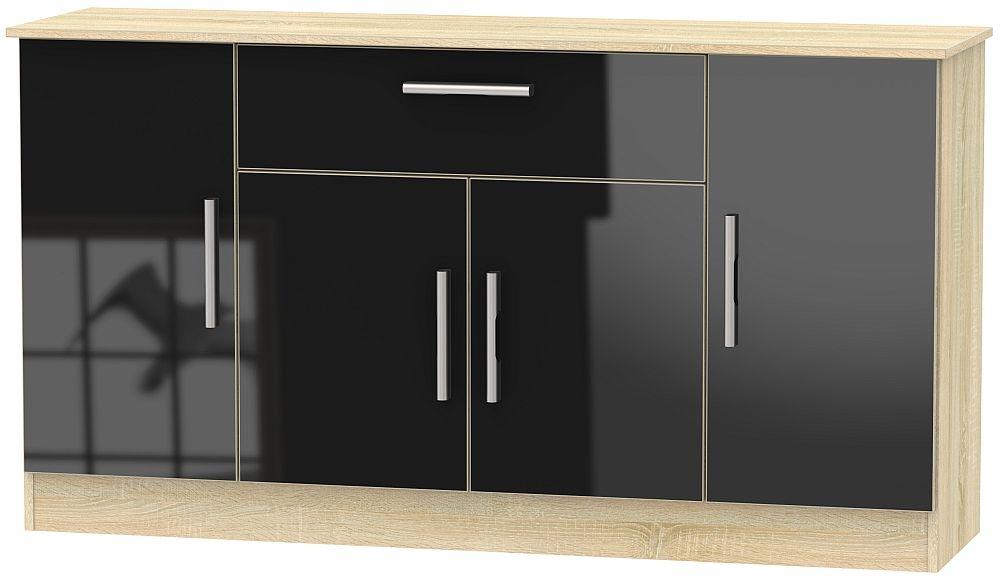 Contrast 4 Door 1 Drawer Wide Sideboard - High Gloss Black and Bardolino