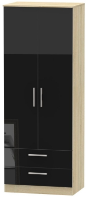 Contrast 2 Door 2 Drawer Wardrobe - High Gloss Black and Bardolino