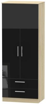 Contrast 2 Door 2 Drawer Wardrobe - High Gloss Black and Bardolino
