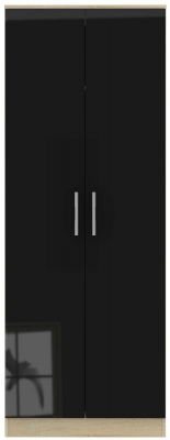 Contrast 2 Door Wardrobe - High Gloss Black and Bardolino